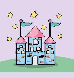 Pixelated fantasy castle vector