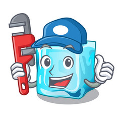 Plumber ice cubes on the cartoon funny vector
