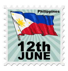 post stamp of national day of Philippines vector image