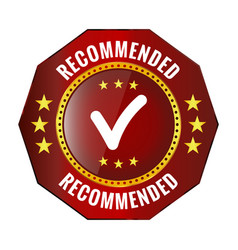 Recommended red badge vector