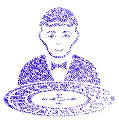 Roulette croupier icon grunge watermark vector
