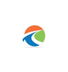 round colorful curve arrow logo vector image