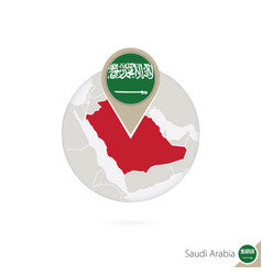 Saudi arabia map and flag in circle map saudi vector