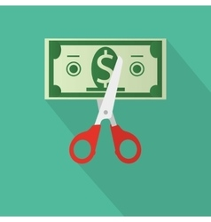 Scissors cutting money bill vector