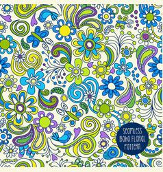 seamless boho floral paisley pattern vector image