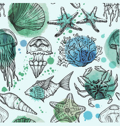 Seamless watercolor pattern with sea life vector
