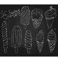 Set Ice cream - sketched dessert on vector image