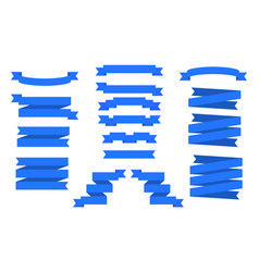 set of blue ribbons banners vector image