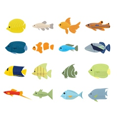 Set of tropical fish vector