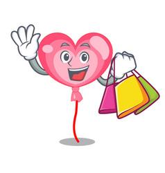 shopping ballon heart character cartoon vector image