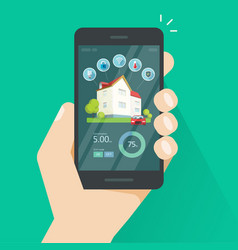 Smart home remote control on mobile phone vector