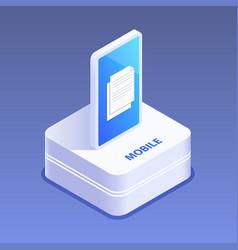 smartphone 3d icon digital gadget touchscreen vector image