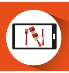 Smartphone order skewers food online vector