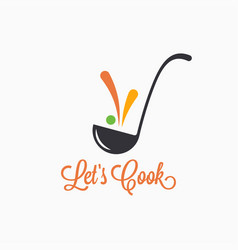 Soup ladle with food splash concept cooking spoon vector