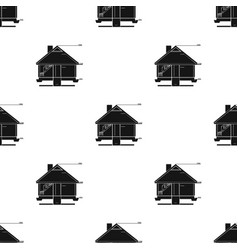 Technical drawing of house icon in black style vector