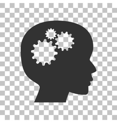 Thinking head sign Dark gray icon on transparent vector image vector image