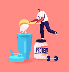 Tiny male character pour protein powder for making vector