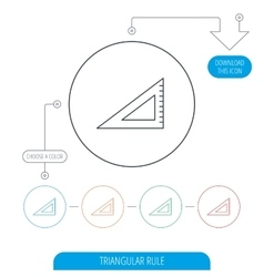 Triangular ruler icon Straightedge sign vector image