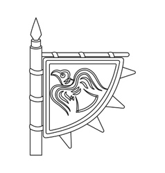 Viking s flag icon in outline style isolated on vector