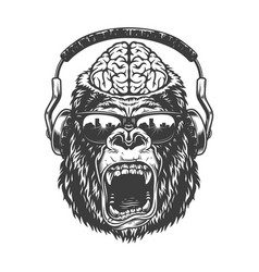 Vintage monochrome gorilla with headphones vector