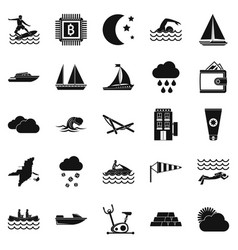 water exercise icons set simple style vector image