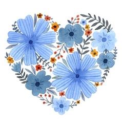 watercolor heart flowers vector image