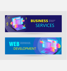 web development web banners with text and bright vector image