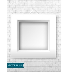 White frames on a brick wall for your design vector