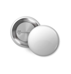 White round badge mockup pin button blank vector