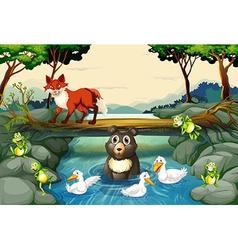 Wild animals river vector
