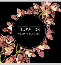 with orchids round black background vector image