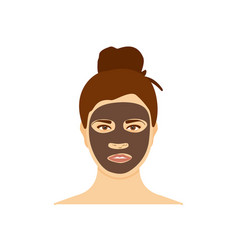 Woman with charcoal brown mask on her face vector