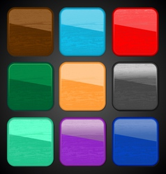 Wooden texture icon button for web vector image