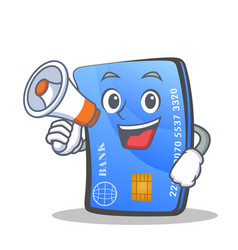 credit card character cartoon with megaphone vector image vector image