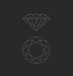 diamond line drawing vector image vector image
