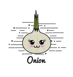 emblem kawaii happy garlic vegetable icon vector image