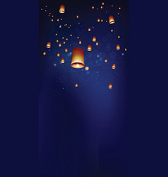 floating lanterns in the night sky ceremony at vector image