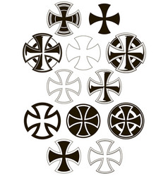 graphic cross icons set vector image vector image
