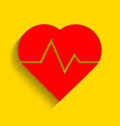 heartbeat sign red icon with vector image vector image