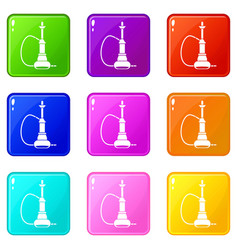 hookah icons 9 set vector image vector image