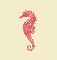 icon seahorse in retro style vector image vector image