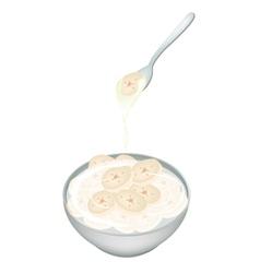 Sliced banana in coconut milk on white background vector