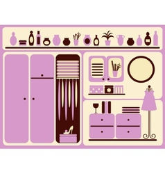 Wardrobe room interior and objects set vector image