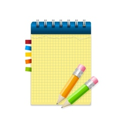 Yellow note paper and pencils vector image vector image