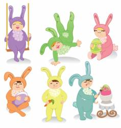 easter kids vector image vector image