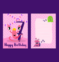 happy birthday cards with cute monsters vector image vector image