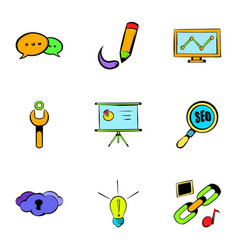 Internet icons set cartoon style vector