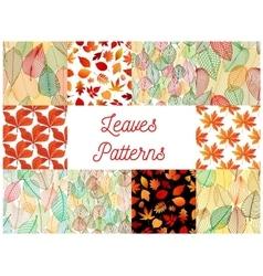 Orange autumn fallen leaves seamless patterns set vector image
