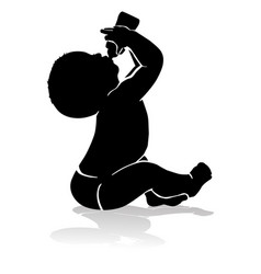silhouette baby drinking from baby bottle vector image