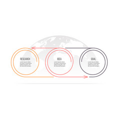 Business process timeline with 3 options circles vector